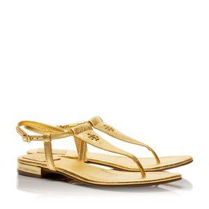 Tory Burch Metallic Gold Leather Britton Sandals